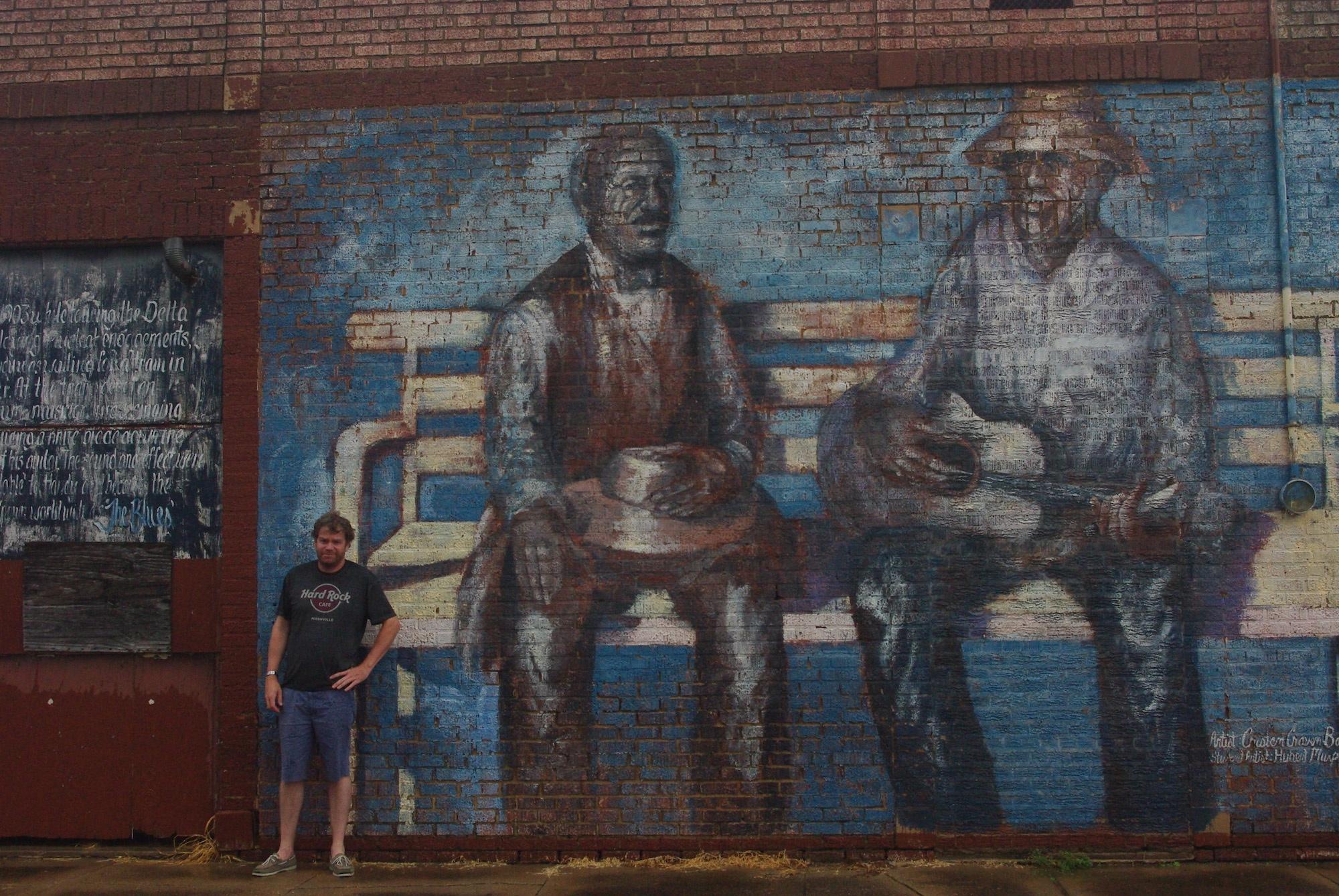 Peinture murale à Tutwiler représentant WC Handy et le musicien inconnu